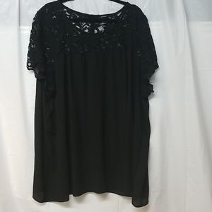 Torrid Black Lace Top with Buttons on Back